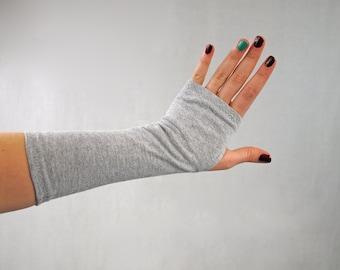 Grey Fingerless Gloves, Arm Warmer Wrist Warmers, Heather Jersey Cotton, Lightweight Women Tattoo Cover Up, Long Stretch, Adult Women Gift