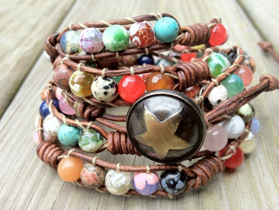Bohemian Colorful Beaded Leather Wrap Bracelet 5X, Boho bohemian, beach jewelry, natural earthy, gemstone bracelet