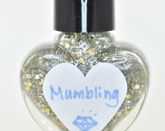 Mumbling Silver and Gold Holographic Glitter Nail Polish 5ml Mini Bottle