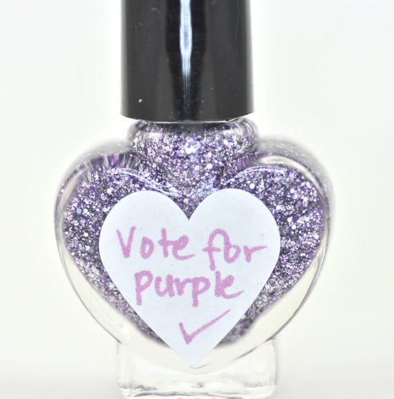 Vote For Purple Lavender and Silver Glitter Nail Polish 5ml Mini Bottle