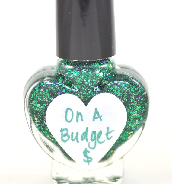 On A Budget 2.0 Green Glitter Nail Polish 5ml Mini Bottle