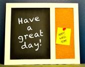 "Chalk Board / Cork Board Message Board Combo - Handmade dorm decor 9.5"" x 11"" for school students, kids, family or office"