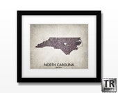 North Carolina State Map - Choose your City & Color - Original Custom Map Art Print Available in Multiple Size and Color Options