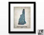 New Hampshire State Map Print - Home Town Love Map - Original Custom Map Art Print Available in Multiple Size and Color Options