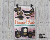 Banana Bread - linen & cotton decorative printed tea towel for your kitchen