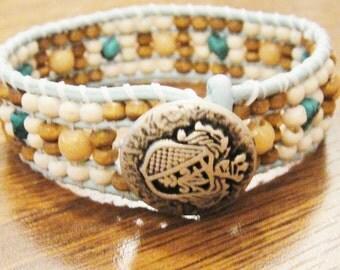 """Energy bracelet """"Friendship"""", wrap, leather, turquoise stone, wood beads"""