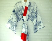 Kimono Style Robe Blue and White Elegant Long