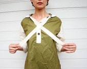 Vintage Olive and Off White Unisex Cotton Shirt