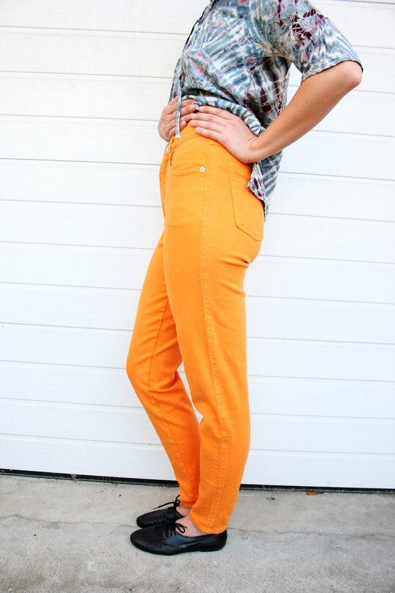 Vintage Bright Orange Stretch Denim High Waist Skinny Jeans