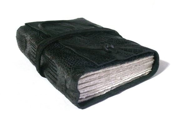 Leather Journal, Embossed Black, Shiny, Hand-Bound 4.5 x 6 Journal by The Orange Windmill on Etsy