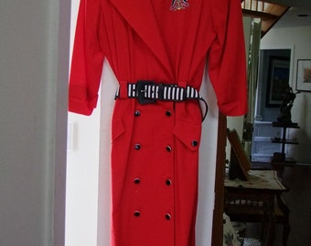 Vintage red dress with Nautical theme ala 1980s