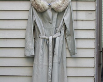 Vintage Oyster Grey Leather coat with possible Fox trim collar ala 1970s