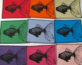 One Fish-goldfish canvas patch in any color you choose....FREE SHIPPING USA