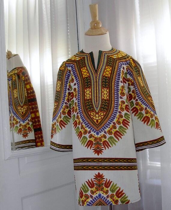 Girl's White Dashiki Print Tunic Dress - Size 4T