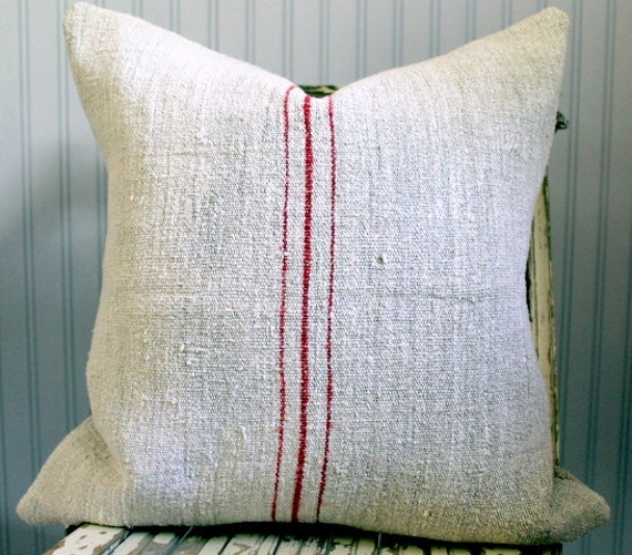 Vintage Grain Sack Decorative Pillow Cover Red stripes 20 x 20