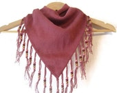 NOS Mauve Pink fringed hand knit bandana style scarf Triangle PRICE REDUCED for the Holidays