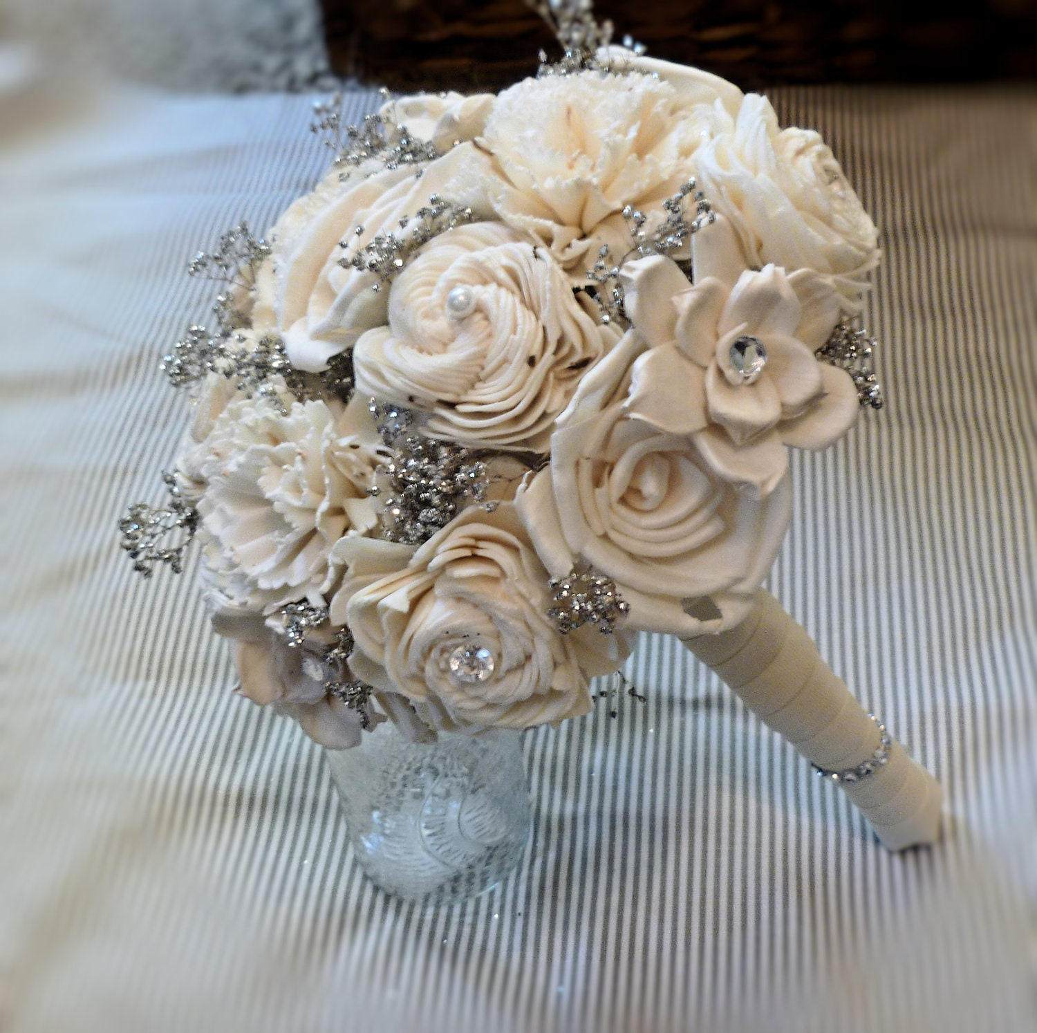Handmade Wedding Bouquet Small Ivory Silver Bridal Bouquet