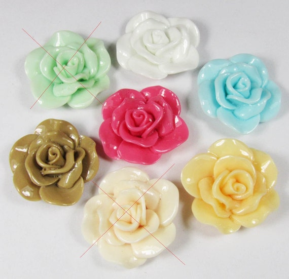 15pcs Mixed Colors 30mm Beautiful Resin Rose Flower Charm Pendants H101