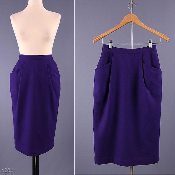 Vintage Pencil Skirt / Purple 80s Wool Skirt / size Small