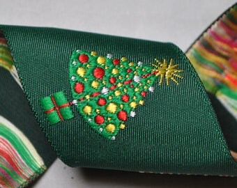 Christmas Trees on Green 2 Yards Jacquard Trim 1 1/2 inches wide
