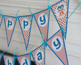 Happy Birthday Pennant Red Blue Turquoise Polka Dot Cat Thing Theme Banner - Ask About Our Party Pack Specials - Free Ship Over 65.00