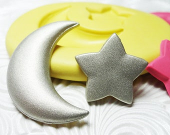 MOON STAR Duo Mold Flexible Silicone Push Mold for Resin Metal Clay PMC Wax Fondant Fimo