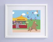 Baby Nursery Art - Bears at the Carnival Children's Bedroom Art (8x10 Print) - GrizzlyBearGreetings
