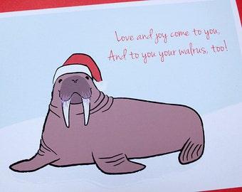 Funny Christmas Card Set - Walrus Cards (Set of 6)