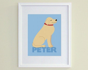 Personalized Dog Nursery Art - Blue Child Name Art - Yellow Lab - Golden Retriever Art