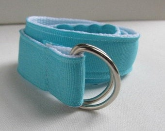 Children's, Toddlers, Baby Belt in Blue Ribbon on White Webbing