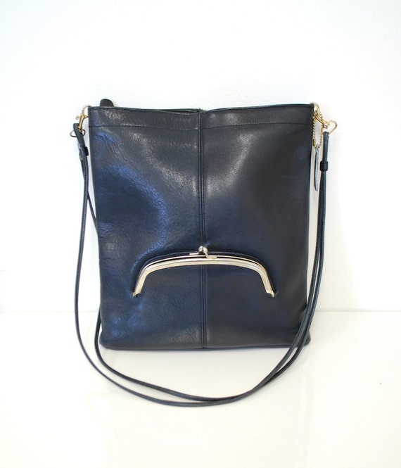 1960s Vintage COACH NYC Navy Blue ULTRA Rare Bonnie Cashin Slim Kisslock Bag