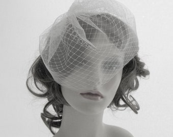 Couture birdcage veil, face veil in English tulle and English net - Sweetie