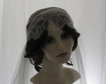 1920s  style  wedding veil -  couture bridal cap veil - Juliet cap veil - Lady Mary