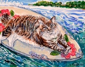 Baby Boots Goes Surfing - 7x5 Fine Art Giclee Print