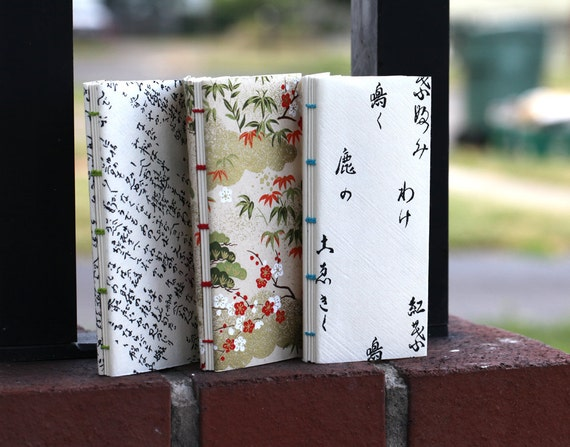 Mini skinny Asian origami paper softcover notebooks - set of 3