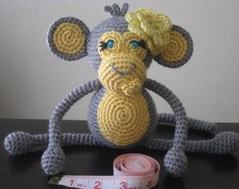 Crochet Baby Monkey, vegan plush toy doll amigurumi grey yellow stuffed animal zoo gift boy or girl MADE TO ORDER