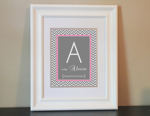 Chevron Baby Nursery Name Art Girl (Gray & Pink)- 8x10 Personalized Print