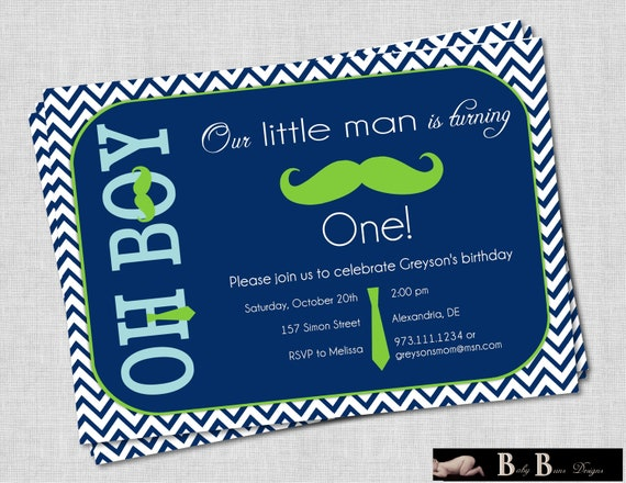 Little Man Moustache & Tie Boy Birthday Party Invitation (navy and green)