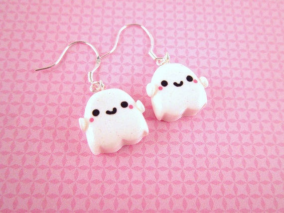 Ghost Kawaii Polymer Clay Dangle Earrings
