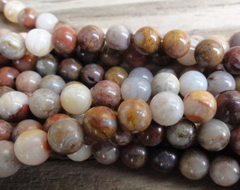 Bamboo Agate 6mm Beads Round Smooth - Full or Half Strand