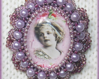 Purple vintage lady cabochon beaded brooch