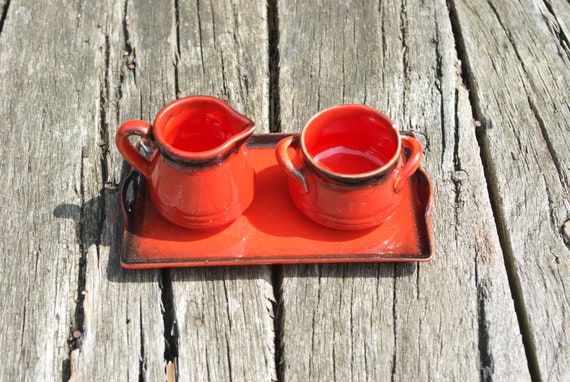 Retro earthenware cream and sugar set from Zell am Harmersbach, Germany
