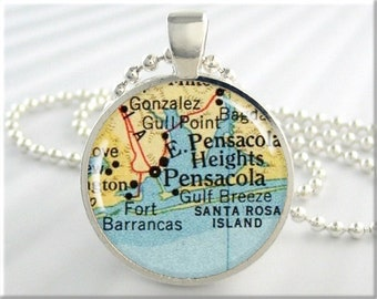 Pensacola Map Pendant, Resin Charm, Pensacola Florida Map Necklace, Picture Jewelry, Round Silver, Gift Under 20 (288RS)