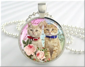 Kitten Necklace Cat Jewelry Sister Cat Necklace Kitty Resin Art Pendant (162RS)