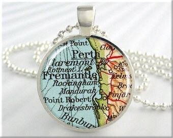 Perth Map Pendant, Resin Charm, Perth Fremantle Australia Map Necklace, Picture Pendant, Round Silver, Gift Under 20 (110RS)