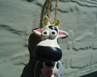 White and Black Cow Polymer Clay Figurine Farm Animal Ooak Ornie Ornament
