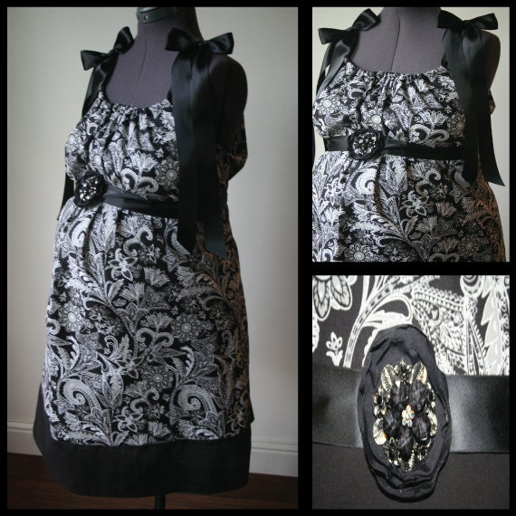Maternity Hospital Gown -Black, White, Gray Paisley. Removable  Rhinestoned Flower Broach (Can be worn in Hair too)