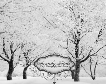 7ft x 6ft Vinyl Photography Backdrop / Winter Forest / Snow / Holiday