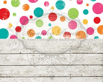 "ALL In ONE 72"" x 147"" (backdrop, floordrop & baseboard) Birthday Polka Dots and Barn Wood"