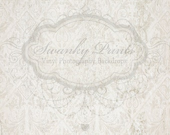 6ft x 7ft Vinyl Photography Backdrop / White Damask / Grunge Vintage Damask